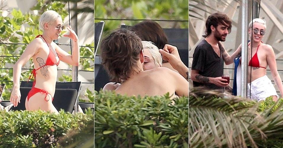 12.jun.2014 - De biquíni, Miley Cyrus aparece bem próxima do amigo e assistente pessoal, Cheyne Thomas, em piscina de hotel de Barcelona, na Espanha, segundo o site Popsugar. Miley não assume nenhum namoro desde o término de seu namoro de quatro anos com o ator Liam Hemsworth
