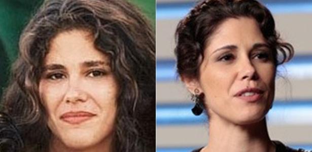 """Juliana Martins como a personagem Bella, de """"Malhação"""" (à esquerda), e atualmente em """"Geração Brasil"""""""