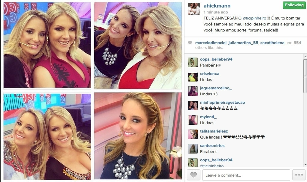 16.jun.2014 - Ana Hickmann parabeniza a amiga Ticiane Pinheiro, que completa 38 anos nesta segunda-feira.