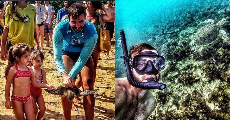 Max Fercondini fez uma foto selfie no fundo do mar, em Fernando de Noronha, ao lado de uma tartaruga marinha