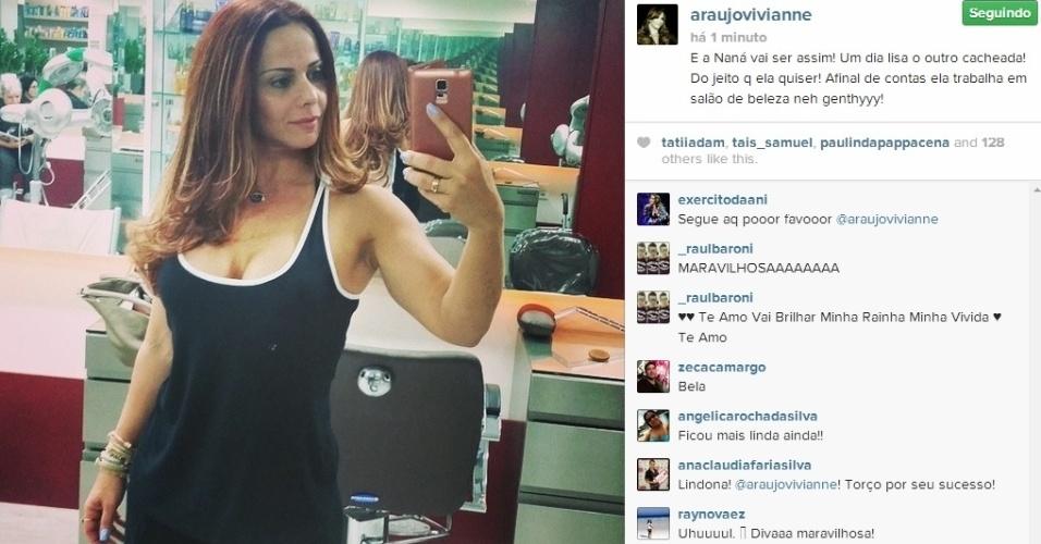 18.jun.2014 - Viviane Araújo mostra o seu novo visual, que ela adotou para a sua personagem na novela