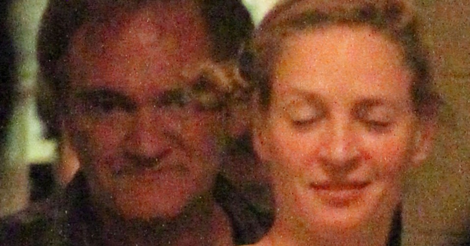 17.jun.2014 - Uma Thurman e Quentin Tarantino deixam restaurante juntos