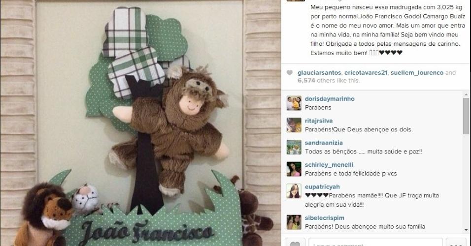 19.jun.2014 - Wanessa anuncia em seu Instagram o nascimento de seu segundo filho, João Francisco