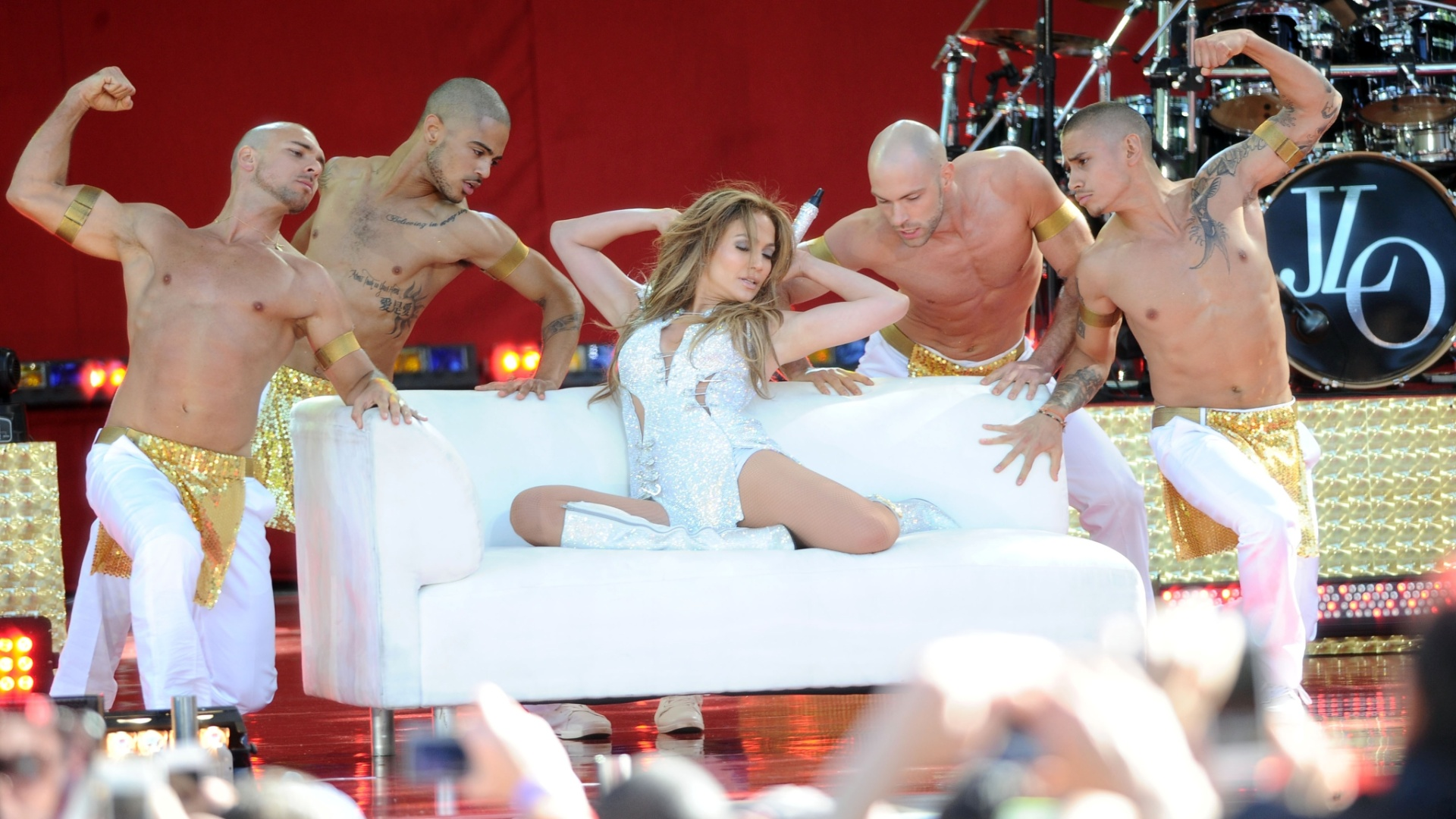 20.jun.2014 - Jennifer Lopez se apresenta no Central Park, em Nova York