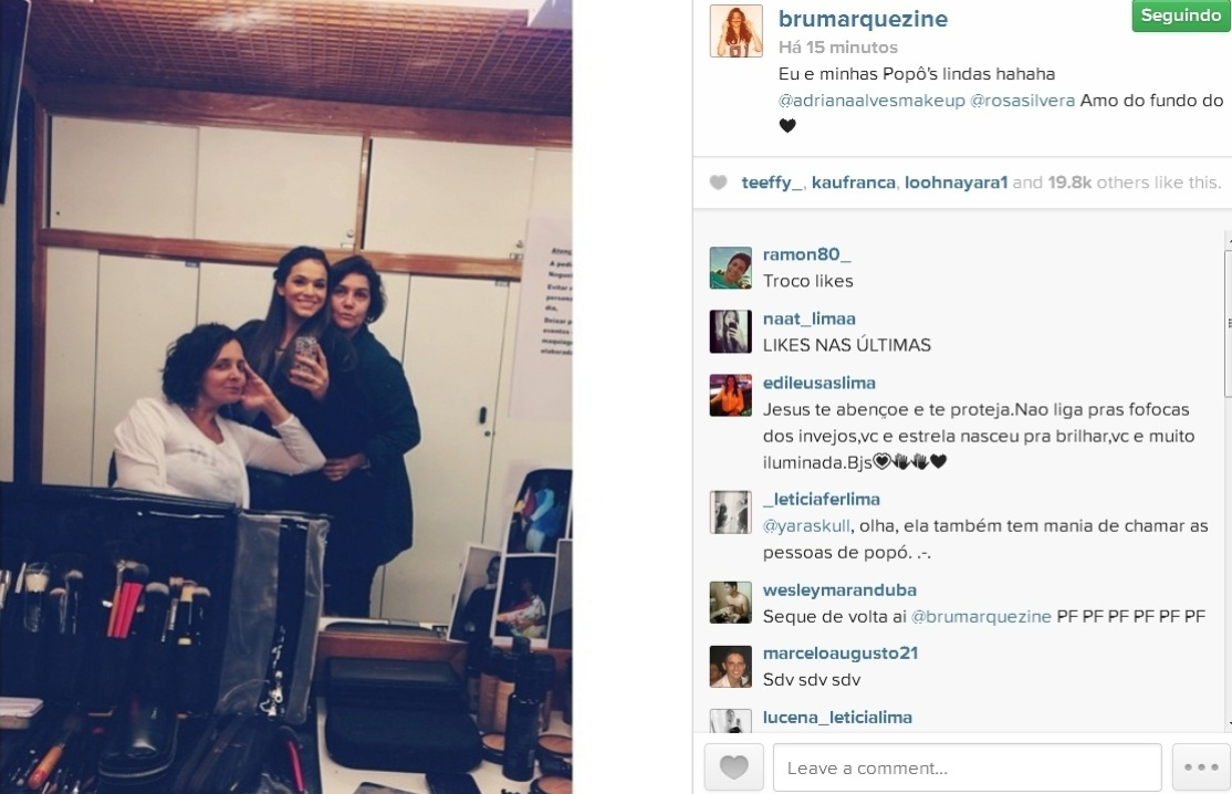 20.jun.2014- Bruna Marquezine publica foto nos bastidores de