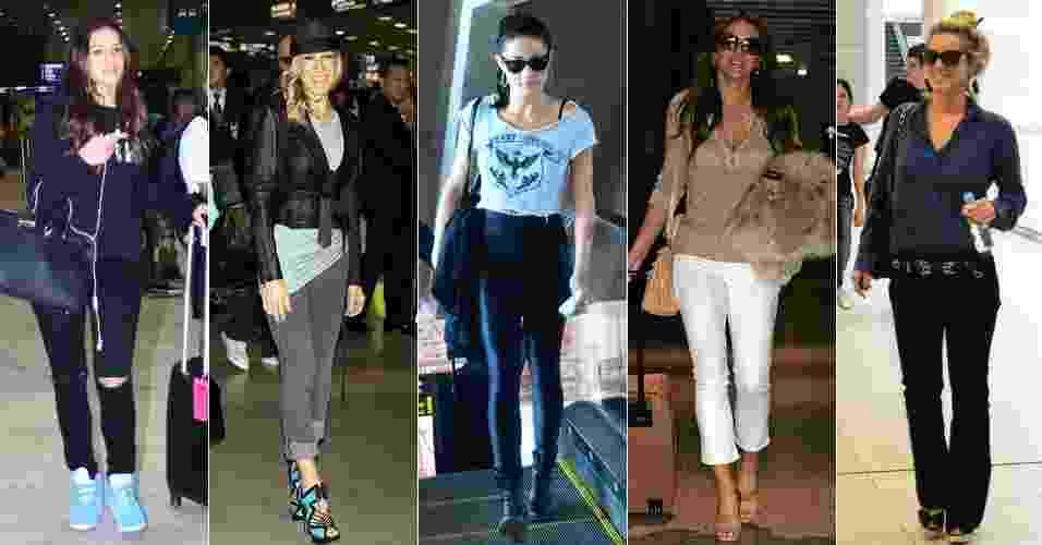 Moda de aeroporto - Bruna Marquezine, Sarah Jessica Parker, Nanda Costa, Elizabeth Hurley e Carolina Dieckmann - AgNews/Getty Images
