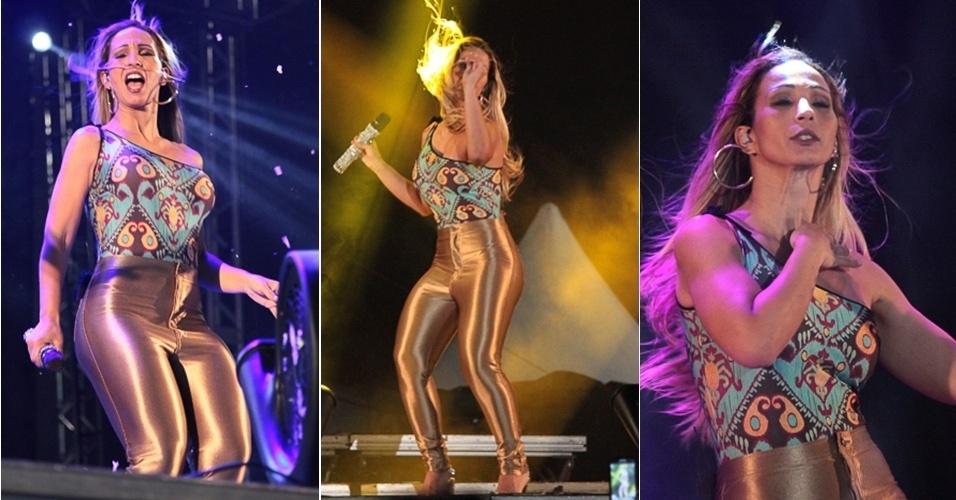 20.jun.2014 - 20.jun.2014 - Com uma calça justíssima dourada, Valesca Popozuda se apresenta na Festa Junina de Mauá, no Rio de Janeiro.