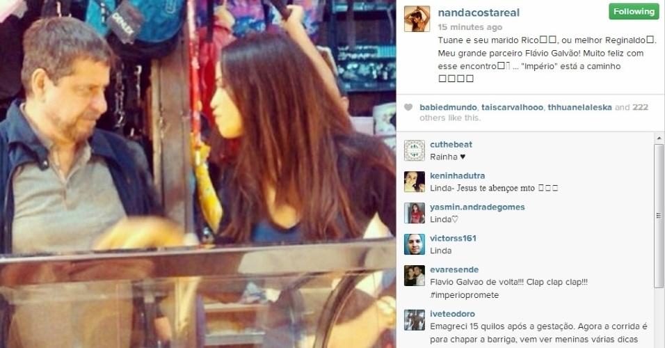 """21.jun.2014 - A atriz Nanda Costa postou uma imagem dos bastidores da novela """"Império"""", ao lado do ator Flávio Galvão"""