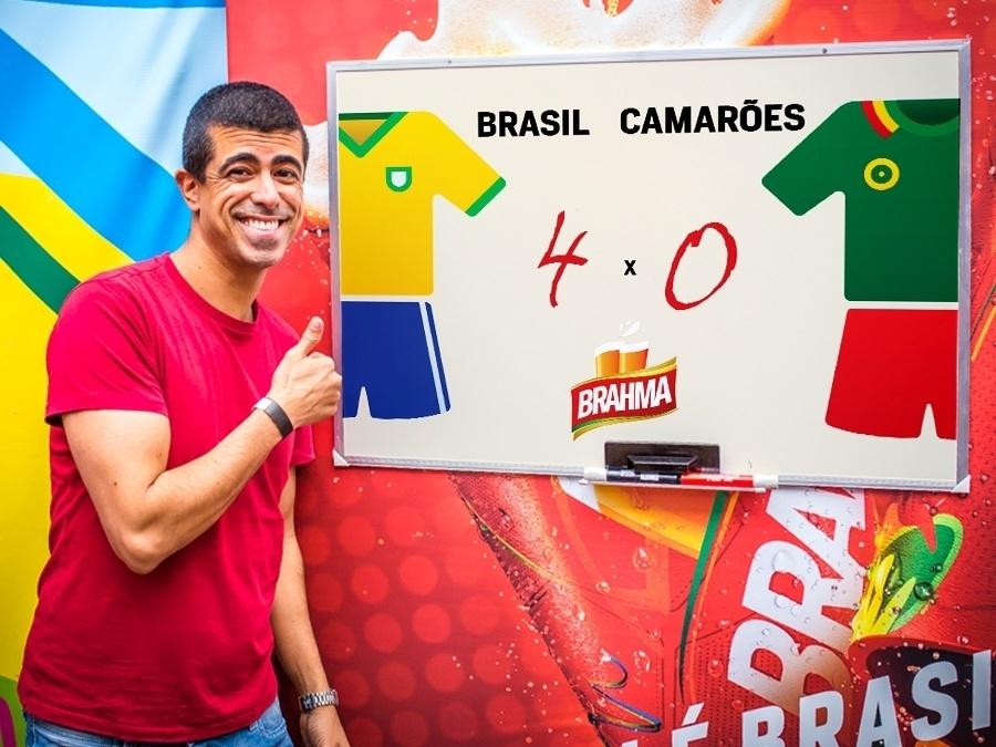 23.jun.2014 - Marcius Melhem prevê que o Brasil vai golear a equipe de Camarões com 4 gols