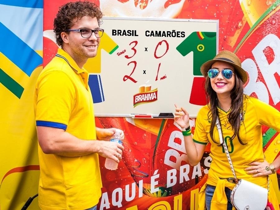 23.jun.2014 - Thiago Fragoso e a mulher Mariana Vaz estão divididos sobre o placar do jogo entre Brasil e Camarões. No entanto, ambos acreditam em uma vitória da Seleção