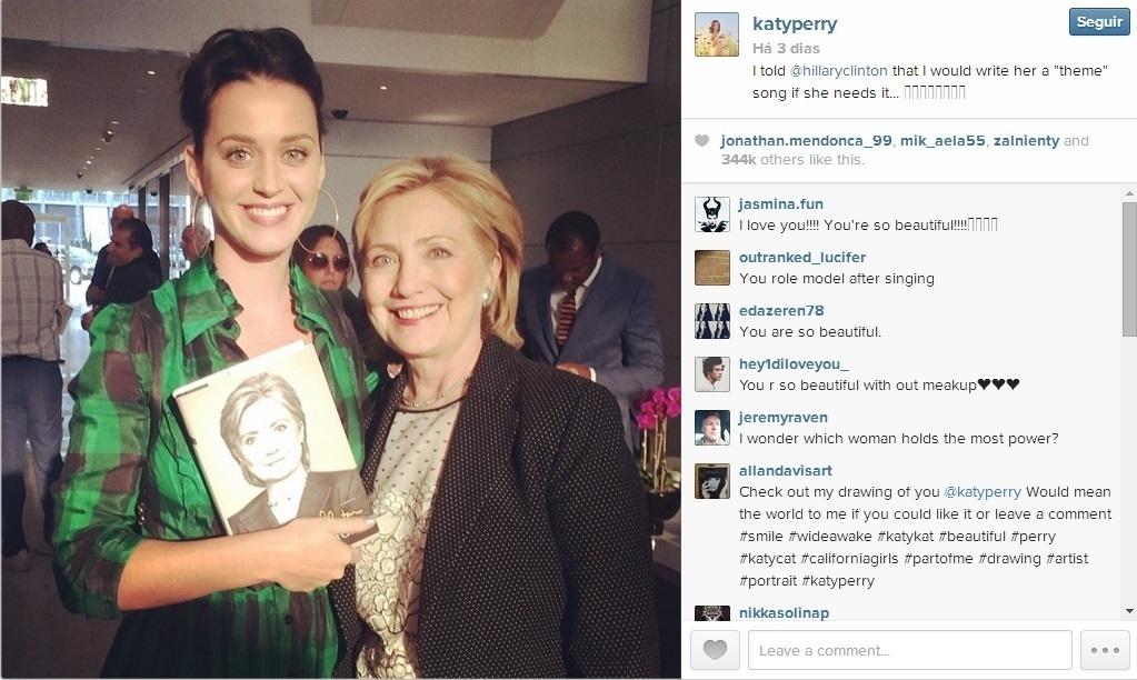 Katy Perry publica em seu Twitter foto com a ex-secretária de Estado dos EUA Hillary Clinton