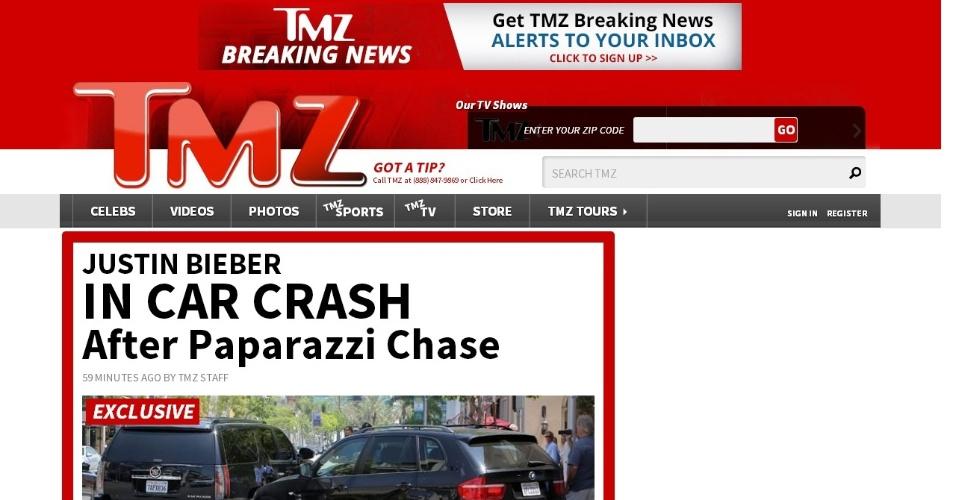 24.jun.2014 - Carro que transportava Justin Bieber é atingido por outro em Beverly Hills