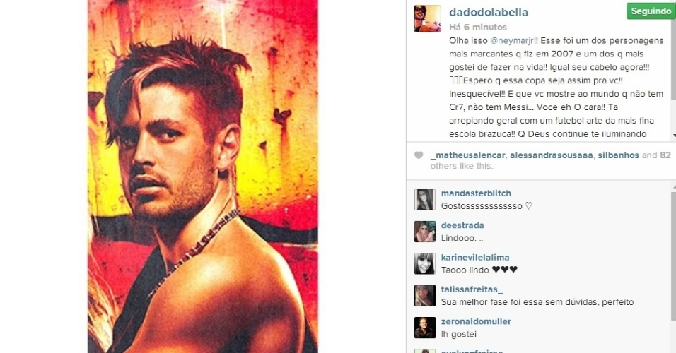 24.jun.2014 - Dado Dolabella usou uma foto sua antiga e comparou o visual com o do craque Neymar.