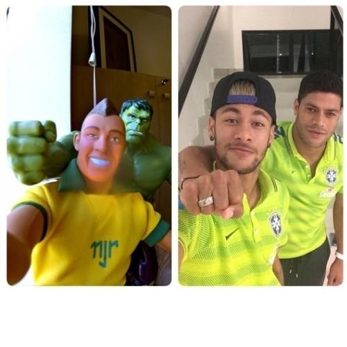 25.jun.2014 - 25.jun.2014 - Neymar divulgou uma montagem divertida em que ele e Hulk aparecem fazendo a mesma pose de suas miniaturas