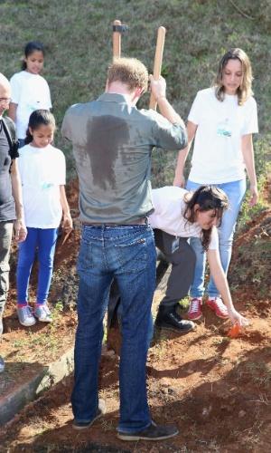 25.jun.2014 - Em dia de calor, camisa do Príncipe Harry fica manchada de suor enquanto ele planta árvore durante visita à Comunidade Cota 200, em Cubatão, no litoral de São Paulo