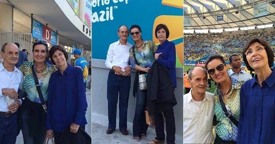 25.jun.2014 - Fátima Bernardes leva os pais ao estádio do Maracanã, no Rio de Janeiro, para assistir à partida entre França e Equador.