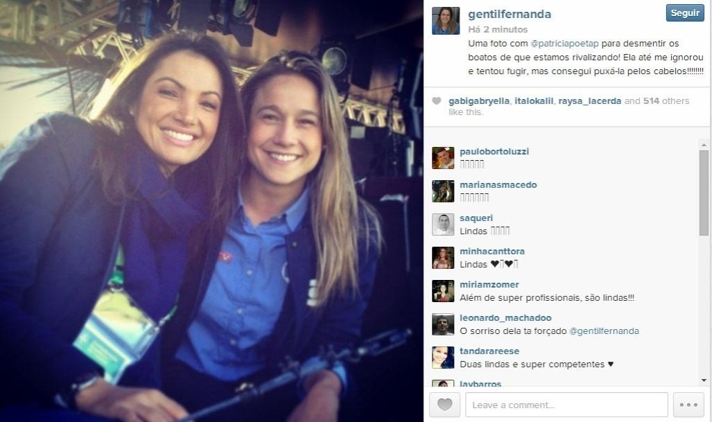 25.jun.2014 - Fernanda Gentil postou uma foto ao lado de Patrícia Poeta nos bastidores da cobertura da Copa do Mundo pela Rede Globo.