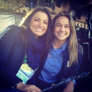 As jornalistas Fernanda Gentil e Patrícia Poeta nos bastidores da cobertura da Copa do Mundo pela Rede Globo