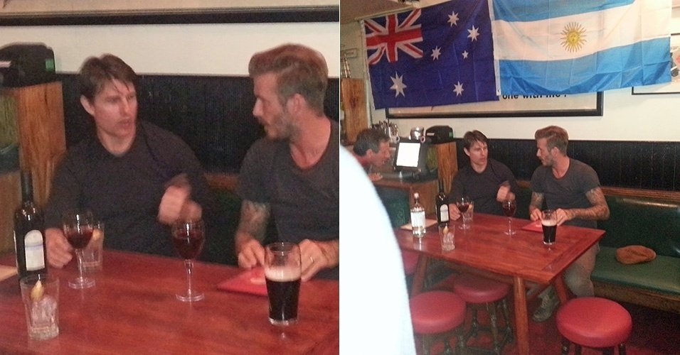 23.jun.2014 - Tom Cruise e David Beckham tomam drinques juntos no pub The Cow, no bairro de Notting Hill, em Londres. Segundo informações da agência Grsoby Group, os dois dividiram uma garrafa de vinho e o ex-jogador de futebol ainda pediu uma cerveja Guiness