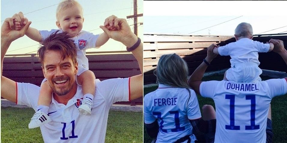 26.jun.2014 - Fergie e o marido, Josh Duhamel, não perdem os jogos da Copa do Mundo e postam fotos com a camisa da seleção