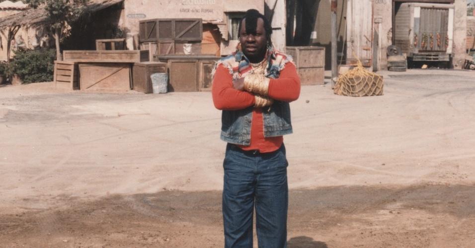 Mussum durante gravações de filme dos Trapalhões em Los Angeles