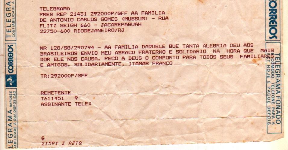 Telegrama de Itamar Franco à família de Mussum, após a morte do humorista