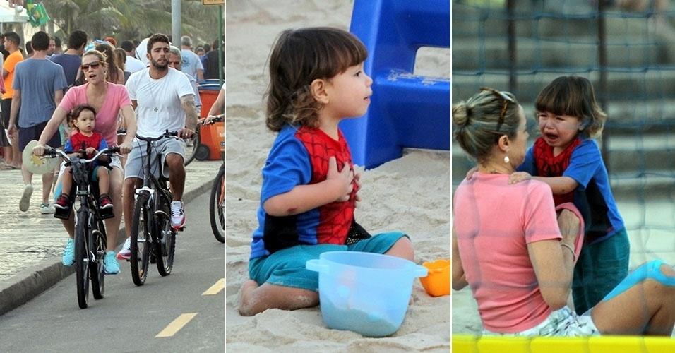 27.jun.2014 - Filho de Luana Piovani chora durante tarde no parque