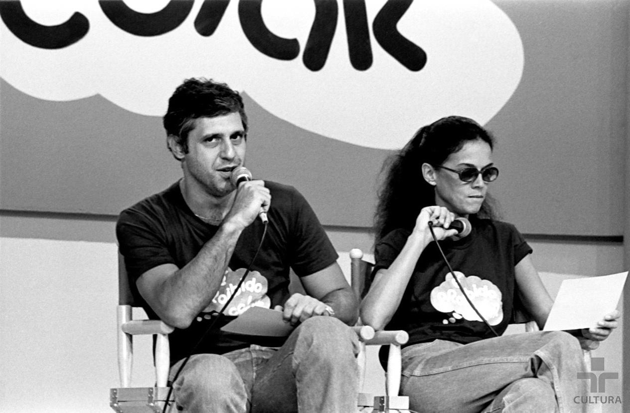 Antonio Fagundes e Clarice Abujamra durante o programa