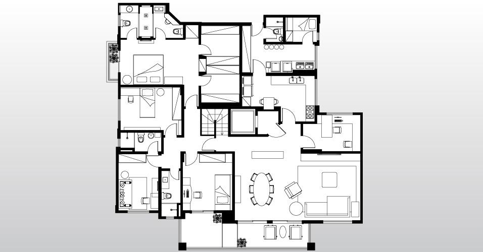 Os arquitetos Gabriel Magalhães e Luiz Cláudio Souza reformaram o apartamento dúplex em São Paulo. No piso superior está a casa propriamente dita: as áreas íntimas contam com cozinha privativa, para uso exclusivo da família
