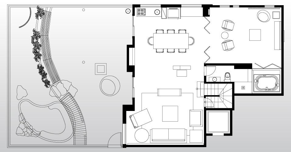 Os arquitetos Gabriel Magalhães e Luiz Cláudio Souza reformaram o apartamento dúplex em São Paulo. No piso térreo ficaram o living com cozinha gourmet, o home theater com spa e a área de lazer externa com piscina e pergolado