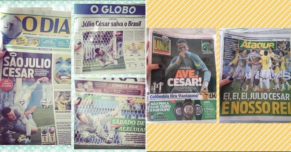 29.jun.2014 - Susana Werner publica foto de capas de jornais que exaltam desempenho do marido Julio Cesar em partida de Brasil contra o Chile