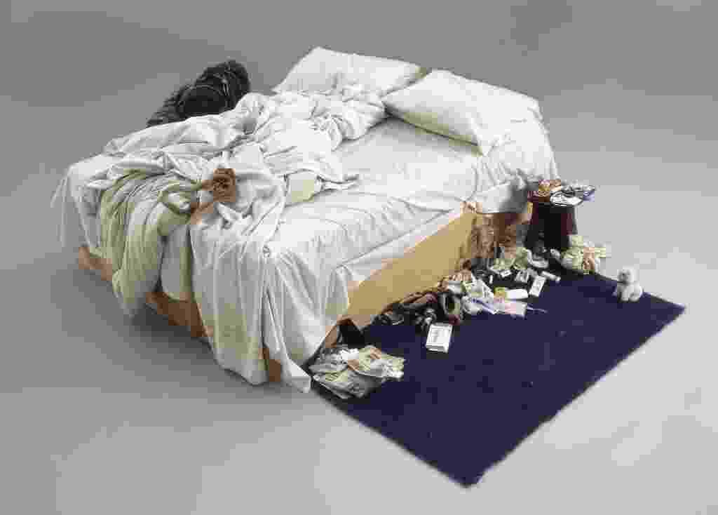 """A obra """"The Bed"""", da artista britânica Tracey Emin, foi leiloada por R$ 9,6 milhões em Londres - Christie´s/AFP Photo"""