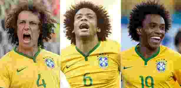 "David Luiz, Marcelo e Willian (esq. para a dir.) exibem cabelos afro no estilo ""black power"" - Juan Mabromata/AFP/Liu Dawei/Ueslei Marcelino/Reuters"