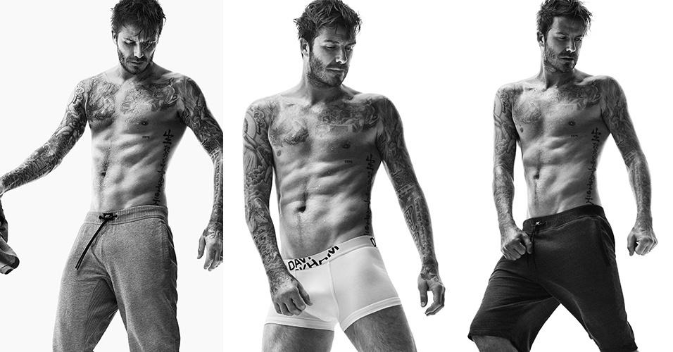 1.jul.2014 - Aos 39 anos, David Beckham posa sem camisa para campanha de roupas íntimas e exibe músculos