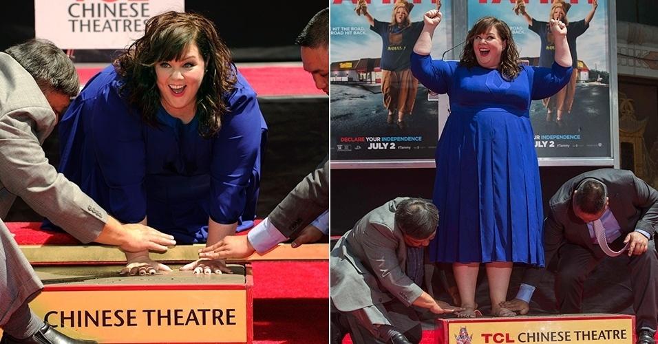 2.jul.2014 - Melissa McCarthy ganha estrela na calçada da fama, em Los Angeles. A atriz participou da cerimônia no TCL Chinese