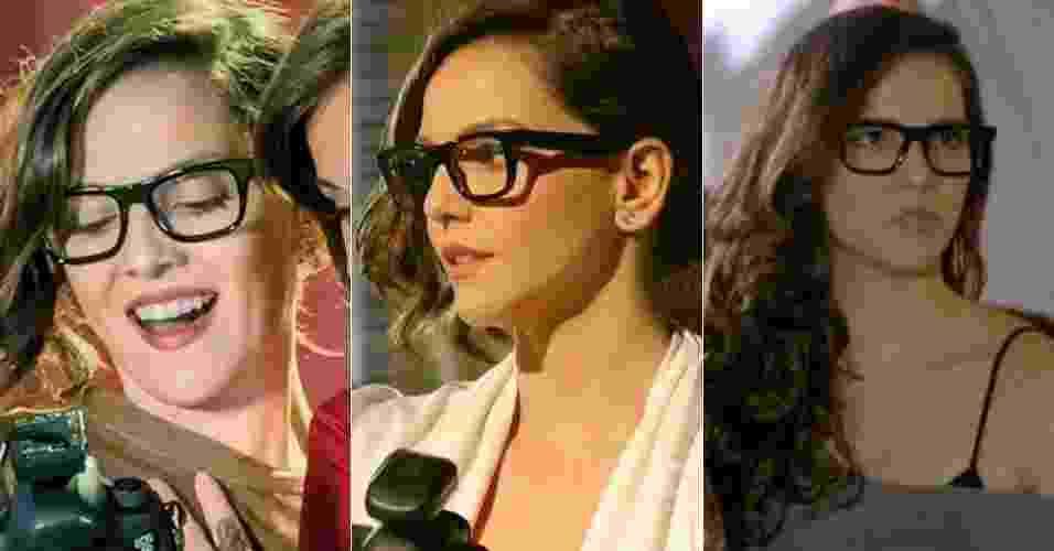 """Os óculos de grau usados por Marina, personagem de Tainá Müller na novela """"Em Família"""", têm feito sucesso entre o público. O modelo aparece todos os meses na lista de acessórios mais pedidos na Central de Atendimento ao Telespectador da Globo. A seguir, veja uma seleção de modelos de óculos com aro preto - Reprodução/TV Globo"""