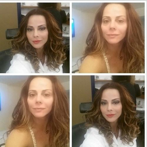 """03.jul.2014- Pelo Instagram, Viviane Araújo mostra o rosto antes e depois da maquiagem: """"Realmente a make transforma mesmo"""""""