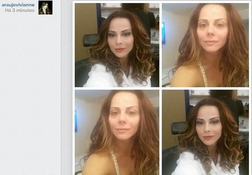 03.jul.2014- Pelo Instagram, Viviane Araújo mostra o rosto antes e depois da maquiagem: