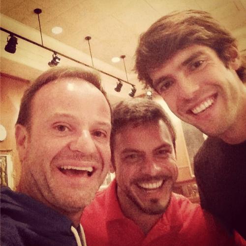 3.jul.2014 - Kaka mostrou uma foto em seu Instagram, na madrugada desta quinta-feira, de um jantar com o ator Luigi Barichelli e o ex-piloto Rubinho Barrichello