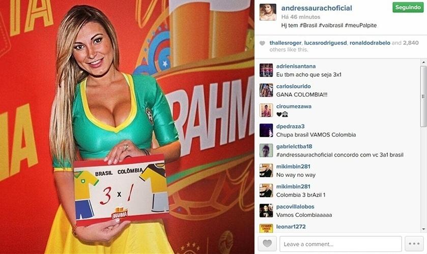 4.jul.2014 - Andressa Urach compartilha em seu Instagram seu palpite para o jogo do Brasil contra a Colômbia: 3x1 para o País