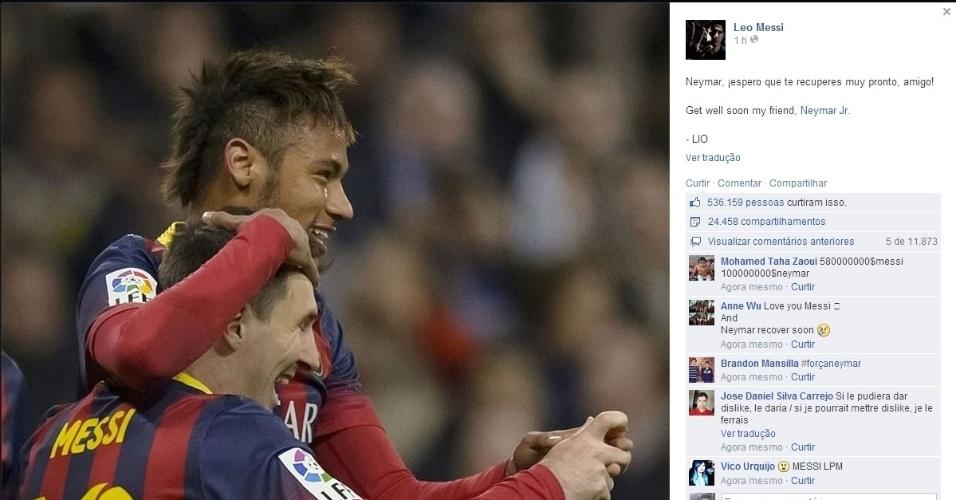 4.jul.2014 - Leonel Messi também prestou sua homenagem ao craque Neymar que se machucou durante a partida Brasil e Colômbia, pelas quartas de final da Copa do Mundo, nesta sexta-feira, em Fortaleza