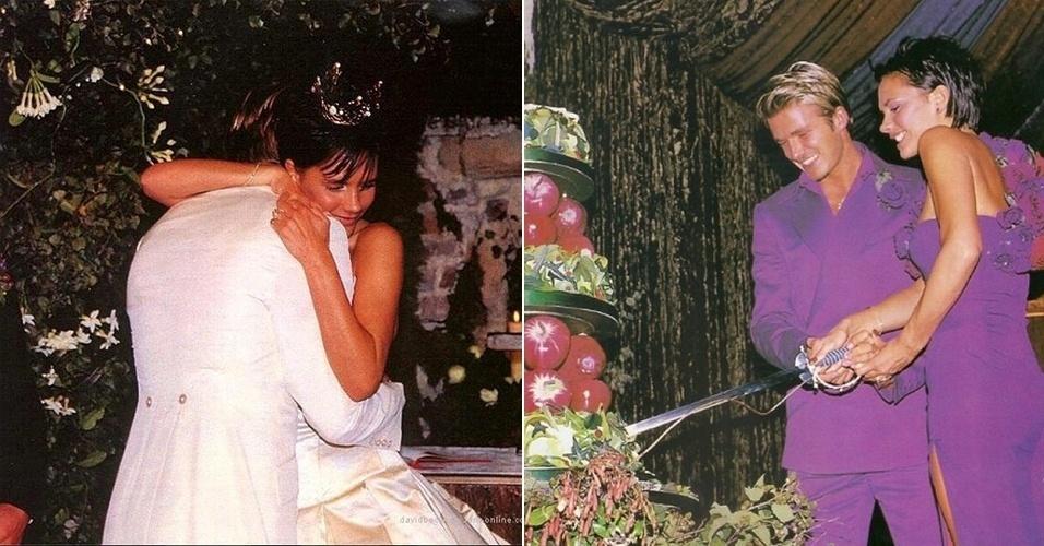 """4.jun.2014 - Victoria Beckham comemora 15 anos de casada com o marido, David Beckham. A estilista e ex-Spice Girl compartilhou duas fotos do casamento dos dois - a primeira, à esquerda, é da cerimônia, enquanto a segunda é da recepção. """"15 lindos anos. Nós nos sentimos abençoados e agradecemos a todos vocês pelo amor e apoio ao longo dos anos. É um dia tão especial para nós"""", escreveu"""