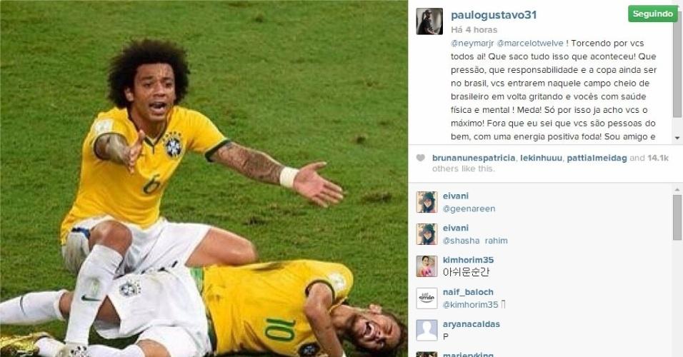 4.jul.2014 - O ator Paulo Gustavo enviou sua mensagem para Neymar que está fora do Copa do Mundo devido a uma fratura em uma vértebra