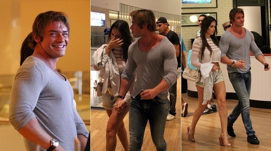 5.jul.2014 - Thor Batista usa camisa colada para ir ao cinema com a noiva