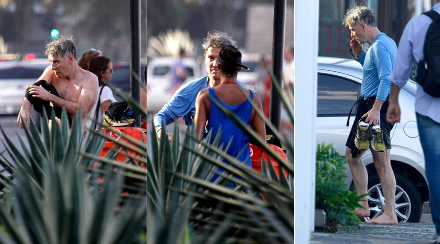 6.jul.2014 - Após se exercitar, Eike Batista troca de roupa no meio da rua