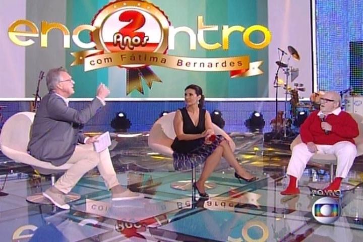 7.jul.2014 - Pedro Bial, Fátima Bernardes e Jô Soares no