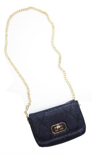 a3d4d1e9d8 Bolsa pequena de material sintético com aparência de couro estampado de  cobra em tons azul marinho