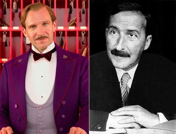 """O escritor austríaco Stefan Zweig (dir.) e M. Gustave, personagem de Ralph Fiennes em """"O Grande Hotel Budapeste"""", de Wes Anderson - Divulgação e Reprodução/Casa Stefan Zweig"""