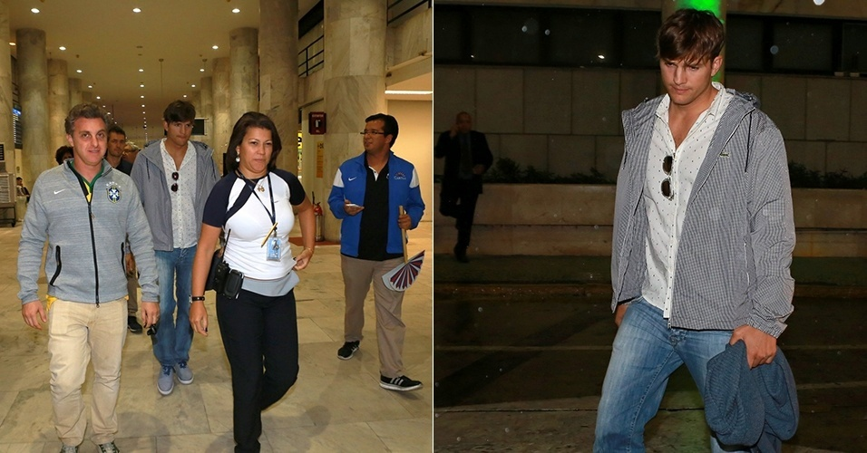 9.jul.2014 - Ashton Kutcher desembarca no aeroporto Santos Dummont com o apresentador Luciano Huck. Amigos, os dois torceram no estádio do Mineirão pelo Brasil na Copa