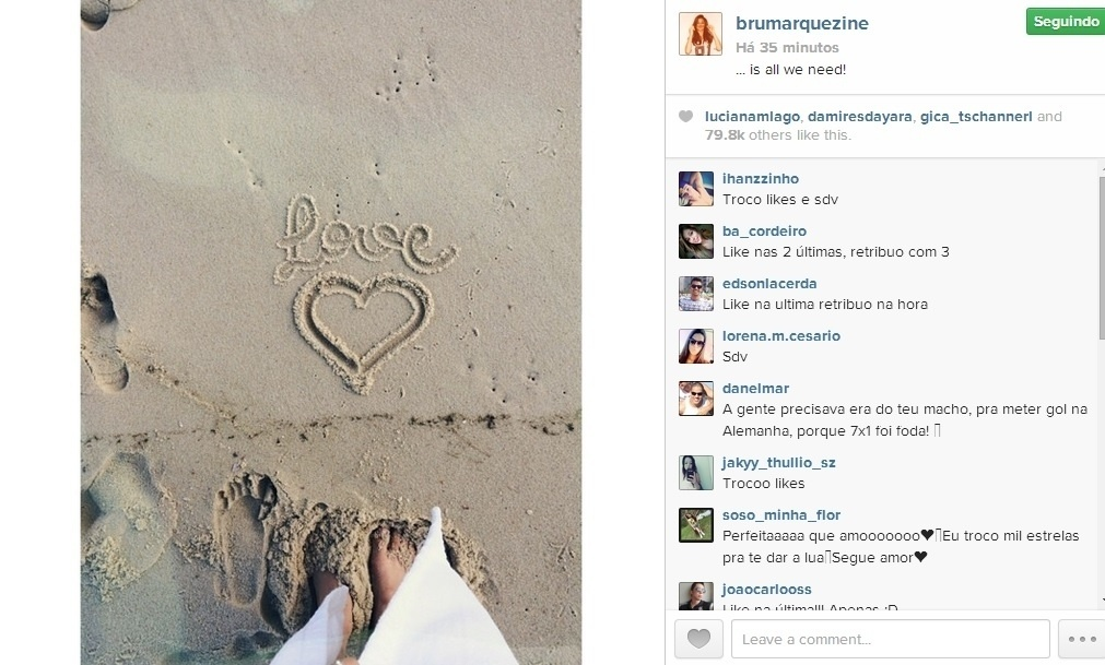9.jul.2014 - Bruna Marquezine faz o seu primeiro post após a eliminação do Brasil na Copa do Mundo. A atriz compartilhou uma imagem com a palavra